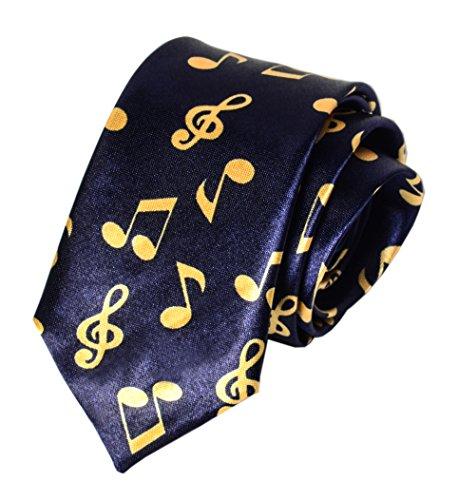 Notes Navy Blue Necktie - Men Novelty Pattern Tie Navy Blue Yellow Best Xmas Gift Necktie Music Lover Gift