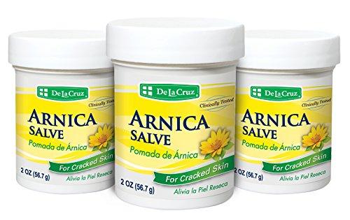 De La Cruz Arnica Salve for Cracked Skin, No Preservatives, Artificial Colors or Fragrances, Allergy-Tested, Made in USA 2 OZ. (3 Jars)