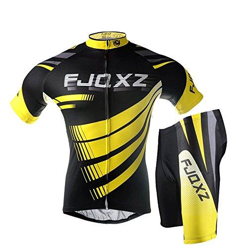fjqxz Men's Cycling Jersey Set Short Sleeve Bike Clothing F014D Yellow