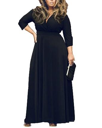 Women Plus Size Deep V Neck Long Sleeve Maxi Prom Party Dresses Black L