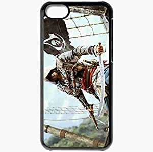 Personalized iPhone 5C Cell phone Case/Cover Skin Assassins Creed 4 Black Flag Black