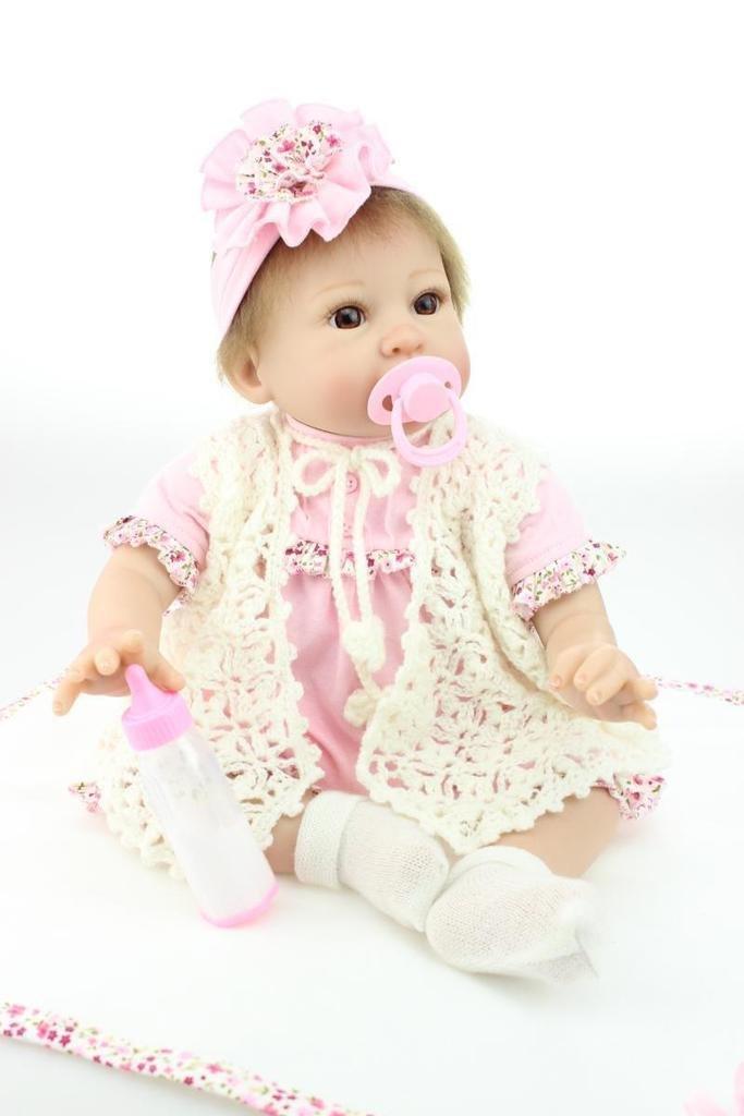 Sin impuestos NPKDOLL Renacer De La La La Muñeca De Silicona Suave 22 Pulgadas 55 Centímetro Magnética Boca Precioso Realista Lindo De La Muchacha Del Juguete Del Ojo Grande Rosa Blanco Reborn Doll A1ES  promociones