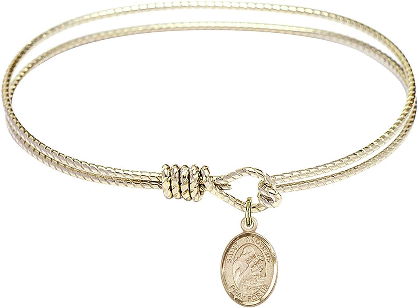 DiamondJewelryNY Eye Hook Bangle Bracelet with a St Aloysius Gonzaga Charm.