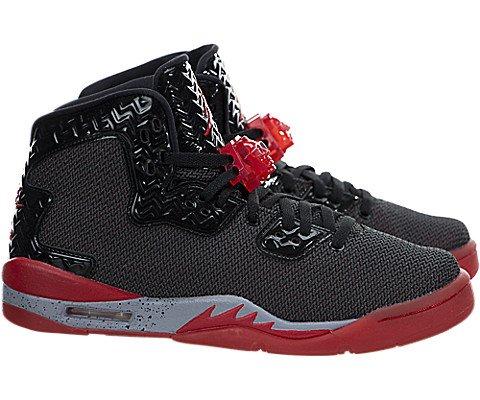 Jordan Nike Kids Air Spike Forty BG Black/Fire Red/Cement Grey Basketball Shoe 5.5Y Black