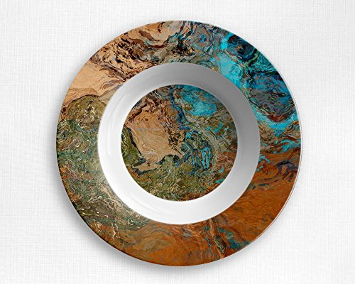 Microwave safe outdoor bowl with abstract art, Canyon Sunset