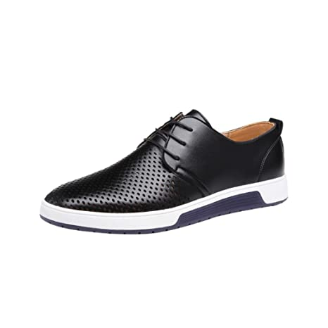546766b3f WuyiM Men s Summer Breathable Slip On Loafer Leather Business Leisure  Hollow Solid Dress Shoes (Black