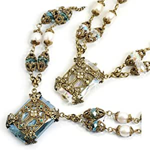 Sweet Romance Chartes Filigree Cross Necklace (Crystal)