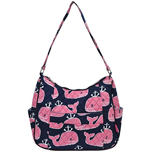 Navy Shoulder Ngil Anchor Quilted Pink Bag Cotton Hobo Whale AA8RwHx