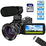 Video Camera 1080P Camcorder with IPS Touch Screen with External Microphone MELCAM Digital YouTube Vlogging Camera with Wide Angle Lens, Remote Control, 32GB SD Card IR Night Vision