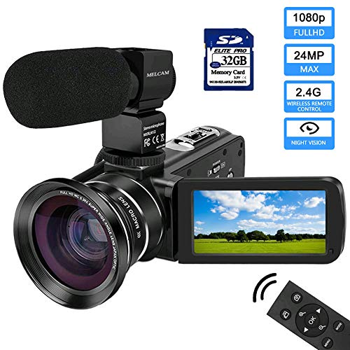 Video Camera 1080P Camcorder with IPS Touch Screen with External Microphone MELCAM Digital YouTube Vlogging Camera with Wide Angle Lens
