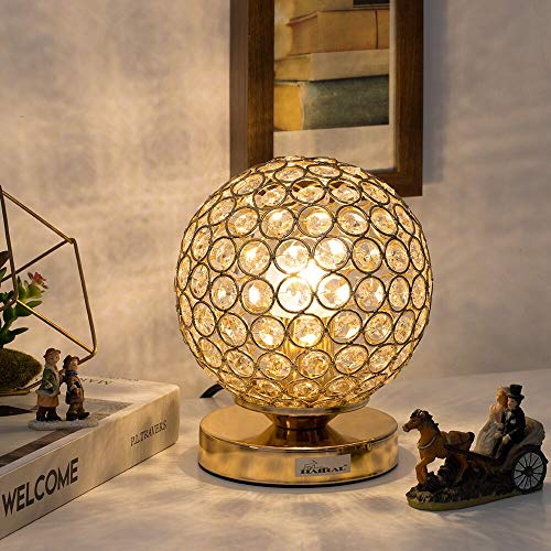Crystal Ball Table Lamp – HAITRAL Vintage Modern Night Light Lamp, Nightstand Decorative Room Desk Lamp for Bedroom, Living Room, Kitchen, Dining Room (Gold) Review