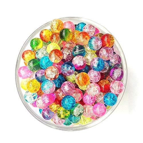 DEEBF 400PCS 8mm Handcrafted Crackle Lampwork Glass Round Beads Assortment Lot for Jewelry Making,Hole: 1.3mm ,0.3mm Transparent Plastic Wire (60m)