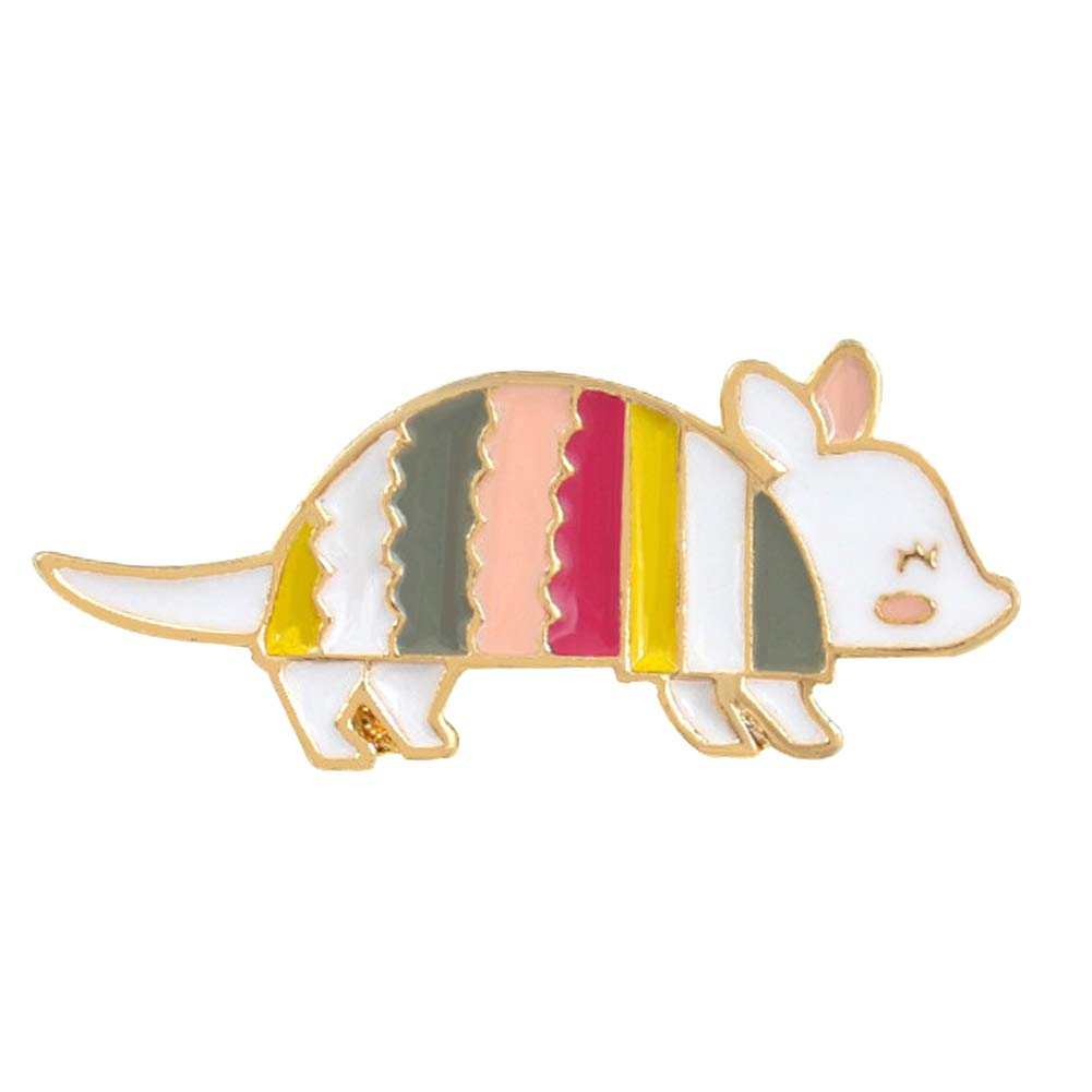 ink2055 Cute Cartoon Rainbow Mouse Enamel Badge Lapel Brooch Pin Badge for Clothes Brooches Jewelry Decor - Multicolor