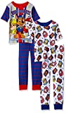 Nickelodeon Boys' Little Boys' Paw Patrol 4-Piece Cotton Pajama Set, White, 6