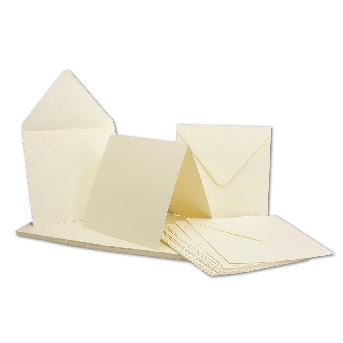 GUSTAV NEUSER, C-Line, Biglietti quadrati con buste, colore: bianco panna/bianco naturale, ideali per decorare e creare 50 pezzi bianco