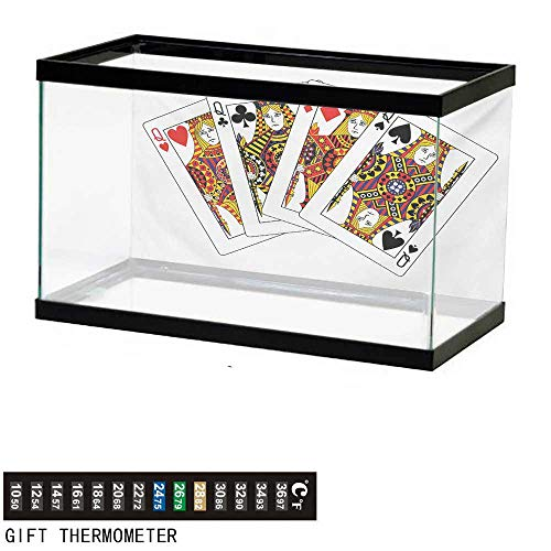 wwwhsl Aquarium Background,Queen,Queens Poker Set Faces Hearts and Spades Gambling Theme Symbols Playing Cards,Black Red Yellow Fish Tank Backdrop 36