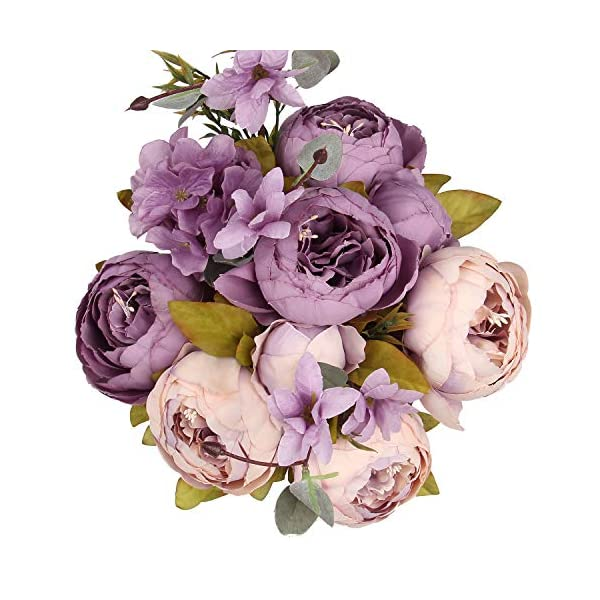 Flojery Silk Peony Bouquet Vintage Artificial Peonies Flower for Home Wedding Party Decor (1pcs, Beige/Lavender)