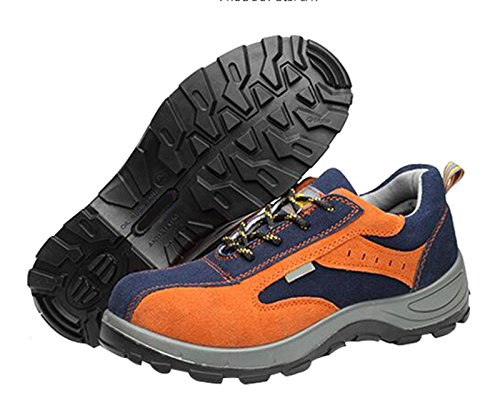 and Safety Footwear Jiu Leather Toe Work Blue Style Proof Women's Orange Outdoor Cow Men's Shoes du Steel Athletic Trainer qIIE6