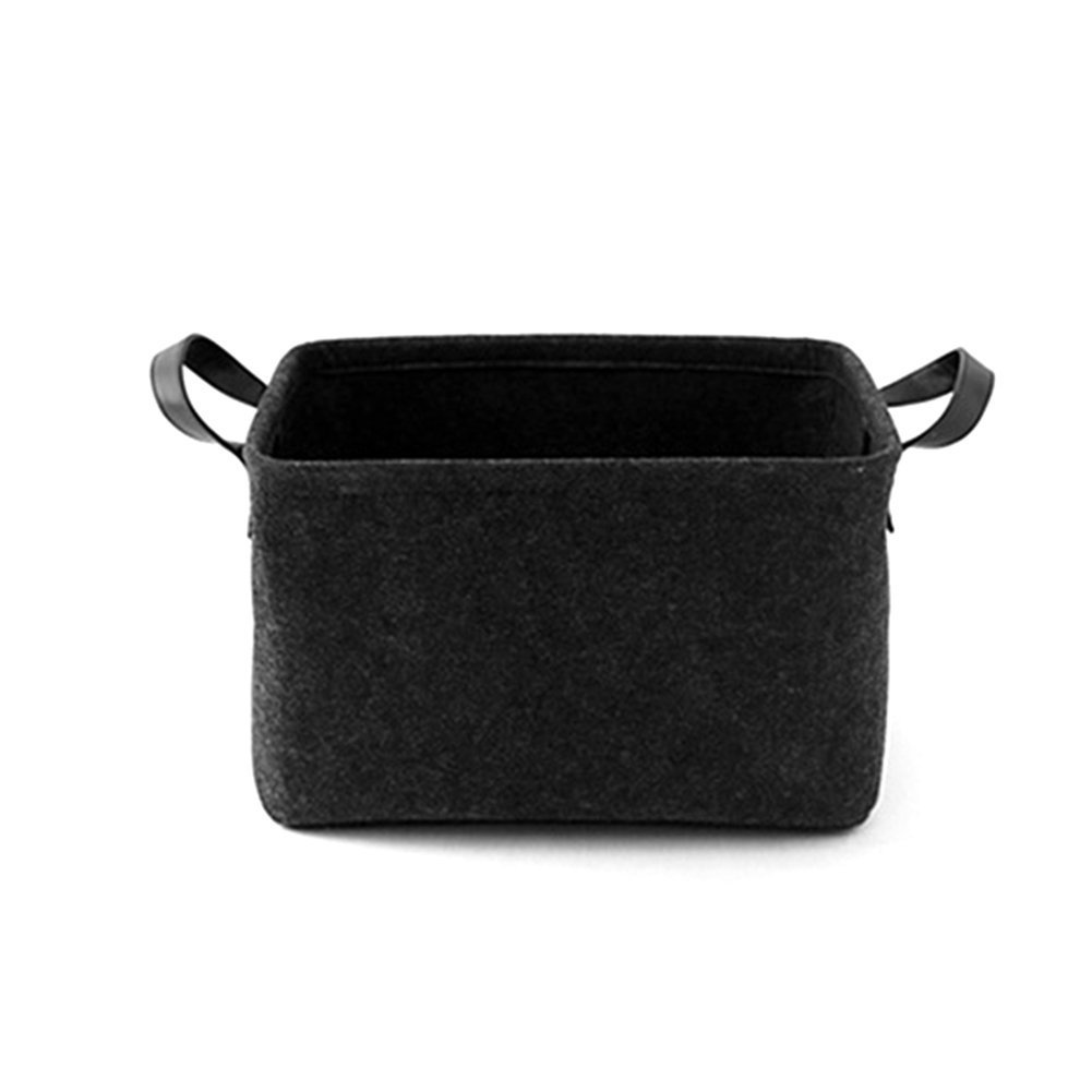 XGZ Felt Basket, Laundry Hamper Toy Storage Box with Handle Strap Soft Durable Storage Nursery Bins Home Decorations (S, Dark Gray)