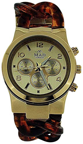 Mab London Chrono Effect Gold Tone Shell Link Bracelet Strap Ladies Watch MPC1