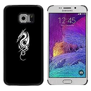 Planetar® ( Flagon Fire Tribal Black White Minimalist ) Samsung Galaxy S6 EDGE / SM-G925 / SM-G925A / SM-G925T / SM-G925F / SM-G925I Fundas Cover Cubre Hard Case Cover