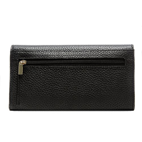 Genuine Leather Wallet Womens Clutch Trifold 11 Card Slots With ID Window RFID Blocking FHHpJB