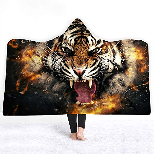 YEARGER Blanket for Adults and Kids-Wearable,Tiger Printed Hooded Soft Crystal Velvet Throw Blankets Wrap, Plush Knitted Hoodie, Soft Blanket,Throw Blanket Microfiber