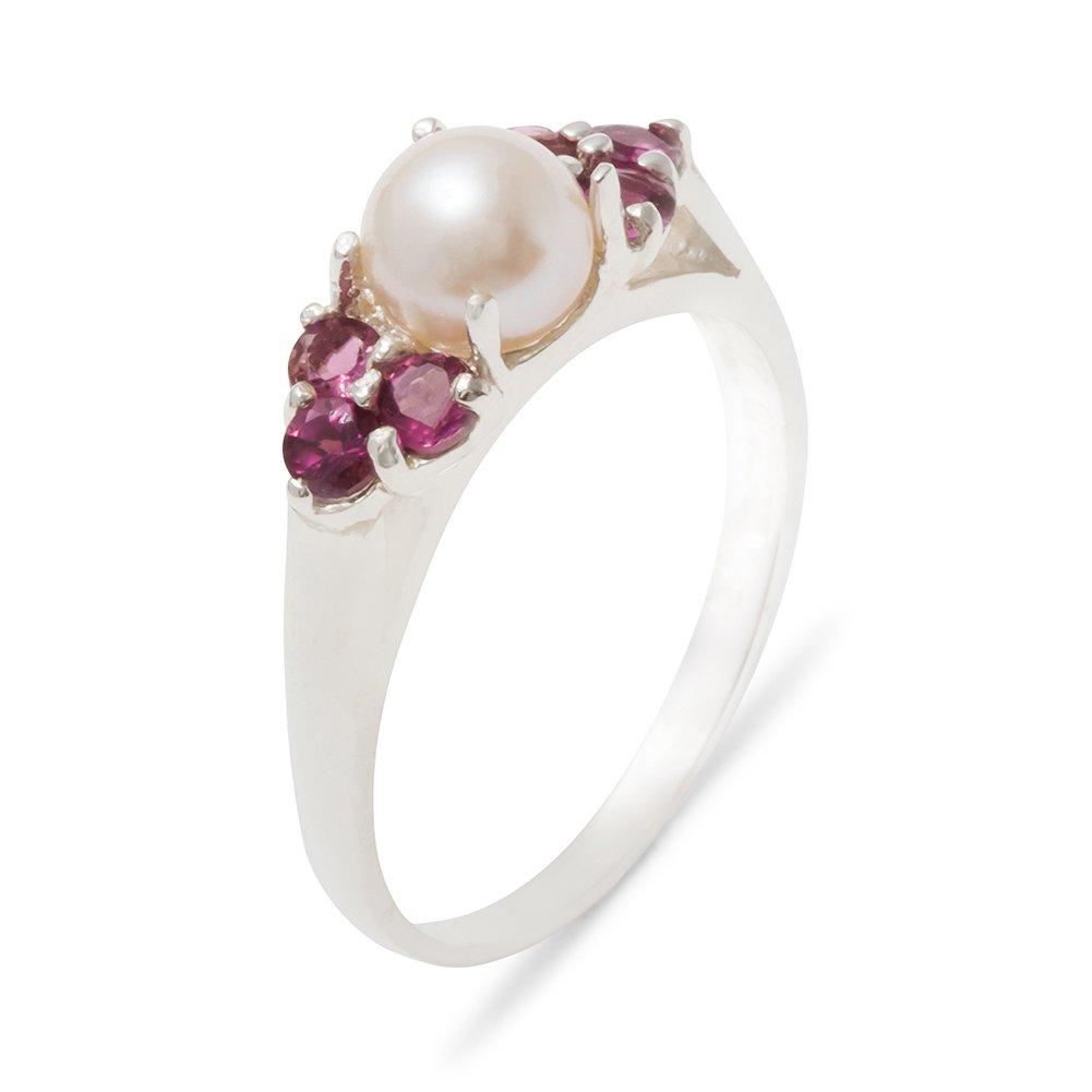 Bague Haute Qualité pour Femme en Argent fin 925/1000 sertie de Perle et Grenat - Tailles 47 à 68 disponibles LetsBuyGold Jewelers 4042/17/64-SS