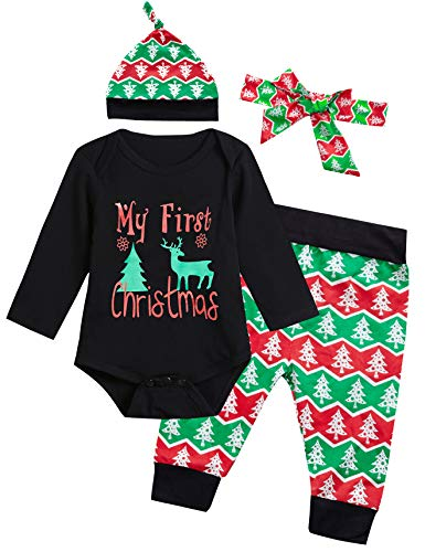 4PCS Baby Boys Girls My First Christmas Outfit Set Long Sleeve Bodysuit (3-6 Months) Black