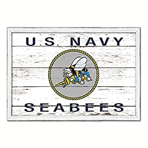 US Navy Seabees Military Flag White Wash Wood Frame Cottage Shabby Chic Gifts Home Decor Wall Art Canvas Print