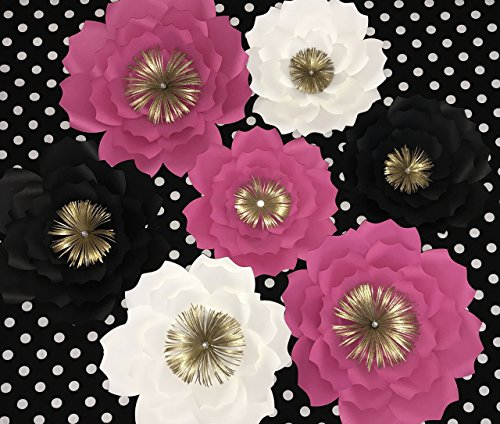 HANDMADE KATE SPADE INSPIRED,LARGE & MEDIUM SET OF 7 PAPER FLOWERS FOR BACKDROP,CAN BE USE AT weddings showers and photo walls. nursery decor, Paper Flower Wall Art by BONITA'S FLOWERS & MORE