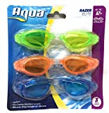 Aqua Leisure Alphalens Razer Elite Zip Fit Swim Goggles 3 Pack Green, Orange and Blue
