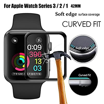 For Apple Watch Screen Protector,Full Screen Coverage Tempered Glass Bumper Case with 3D Curved Edge & High Defintion for iwatch Apple Watch 38mm/42mm Series 3/2/1