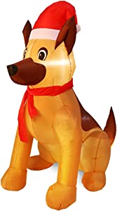 Outdoor Indoor Christmas Inflatable LED Lighted German Shepherd Dog Blow Up Holiday Yard Decoration