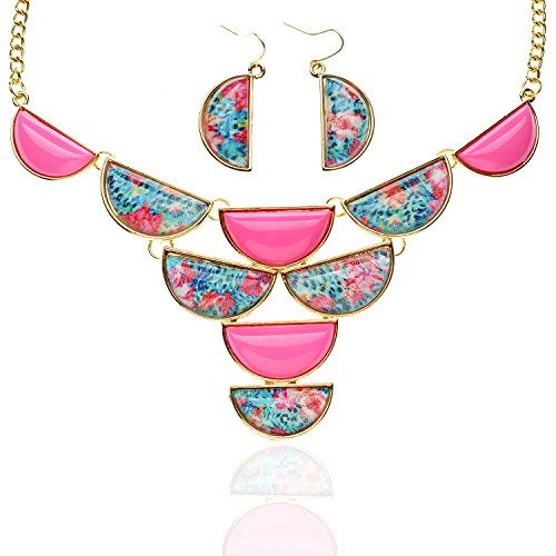 TAGOO Vintage Statement Necklace and Earrings Set in Crystal Resin for Women&Girls16.94