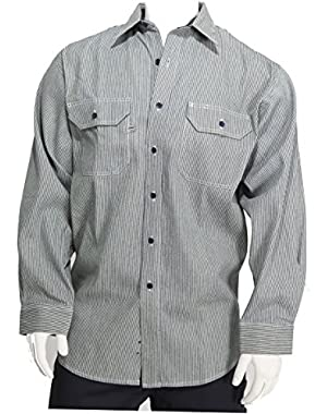by Blue Collar Outlet Men's Logger Long Sleeve Button Front Placket, Hickory Stripe Shirt