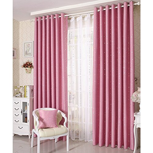 (General Blackout Pink Curtains with Twinkle Star Thermal Insulated Drapes for Kids Girls Room, 1 Panel, 52 x 63 inch (Pink, 52