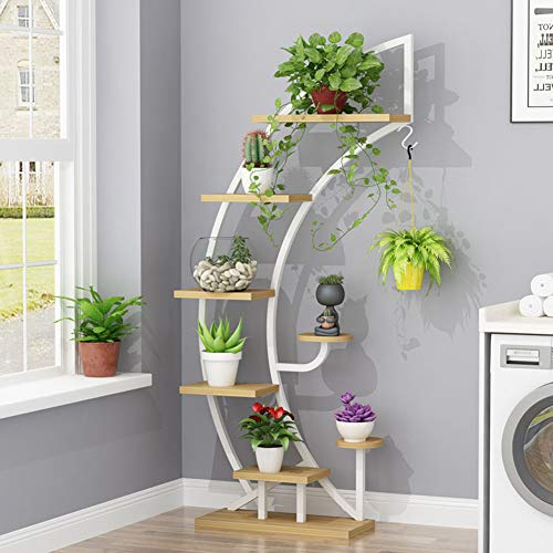 Large Creative Curved Steel Plant Stand, Multipurpose Display Stand for Flowers/Books/Bonsai, Indoor/Outdoor Bonsai Display Shelf for Living Room/Bedroom/Balcony/Patio/Garden/Yard (Bowed, White) (Stand Creative)