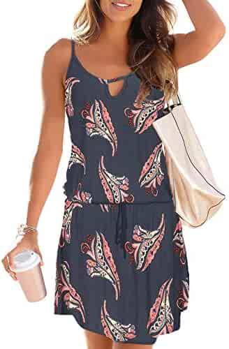 bb634f7b71ace0 Asvivid Womens Casual Floral Printed V Neck Spaghettic Strap Ruffle Summer  Loose Beach Mini Short Dress