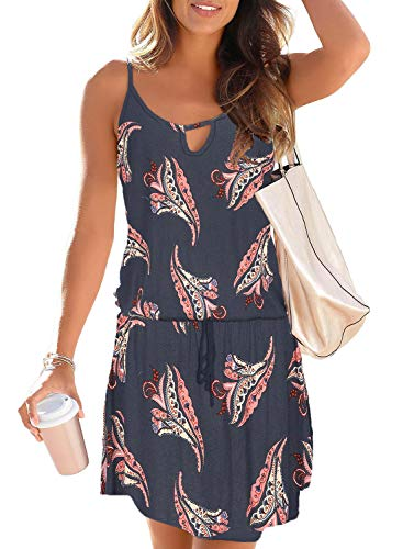 Asvivid Womens Animal Print Sleeveless Spaghetti Straps Scoop Neck Elastic Waist Chiffon Short Dress M Black