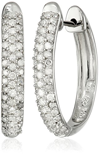 14k Gold Oval Pave Diamond Hoop Earrings (1/2 cttw, H-I C...