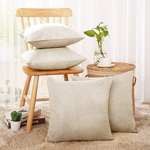 - Deconovo Decorative Cushion Cover for Patio Chair Faux Linen Square Throw Pillow Case Sets of 4 18x18 inch Cream