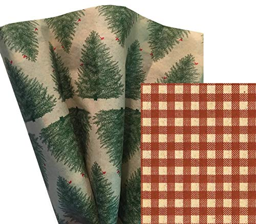 Gift WRAP Tissue Paper Bundle for Christmas, 24 Sheets, Large 20x30, Printed Decorative Tissue Paper for Gift Wrapping (2 Patterns: Evergreen Trees & Gingham)