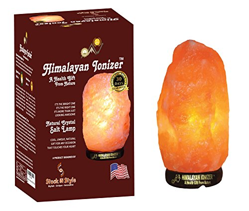 Himalayan Ionizer - Hand Carved Himalayan Salt Lamp 7-8 Inch 5-7 Lbs 6 Feet Ul Listed Dimmable Control Cord – Unique Clear Crystal Shape - Orange Pink Color - Authentic Salt Lamp - Air Purifier