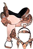 ME Enterprises Youth Child Premium Leather Western Barrel Racing Pony Miniature Horse Saddle Tack Size 10 to 12 Inch Seat + Leather Headstall, Breast Collar, Reins
