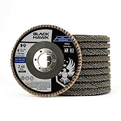 """10 Pack 4-1/2"""" x 7/8"""" Black Hawk Zirconia Grinding & Sanding Flap Discs T27"""