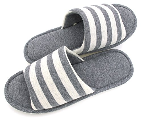 Women's Memory Foam Cotton Washable Stripe Slippers for Travel House Hotel Spa Bedroom, 28CM, Grey Stripes