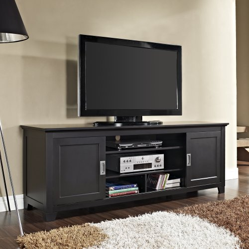 New 70 Inch Wood Tv Stand with Sliding Doors in a Beautiful Matte Black Finish by Home Accent Furnishings