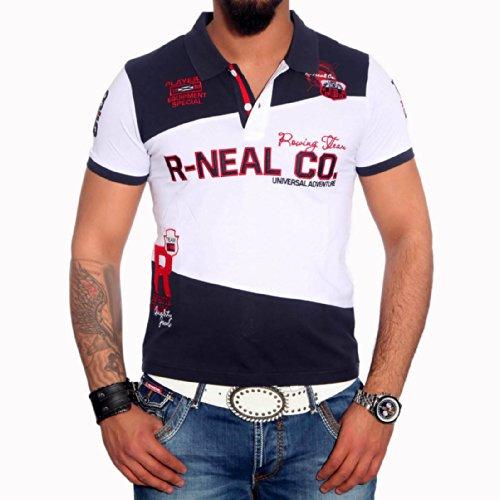 R-NEAL Poloshirt Herren Polohemd Polo Shirt Kurzarm Hemd T-shirt RTN-16686 Shirt, Größe:S, Farbe:Marine / Weiß