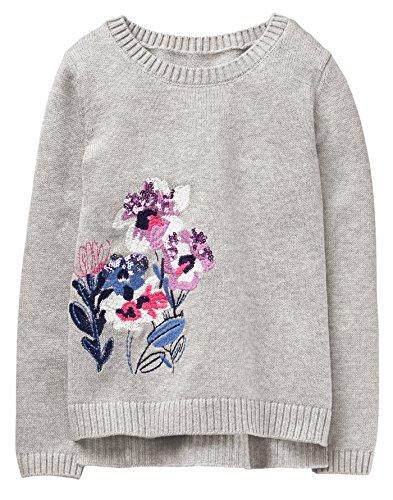 Gymboree Girls' Little Sequin Popover Sweater, Flowers, M -